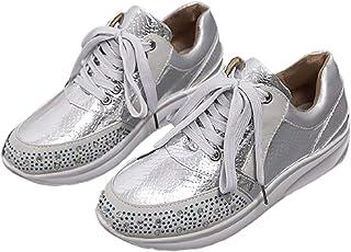 Clenp Chaussures pour Femmes, Femmes Antidérapantes Strass Dentelle Semelle épaisse Sport Baskets De Course Chaussures De ...