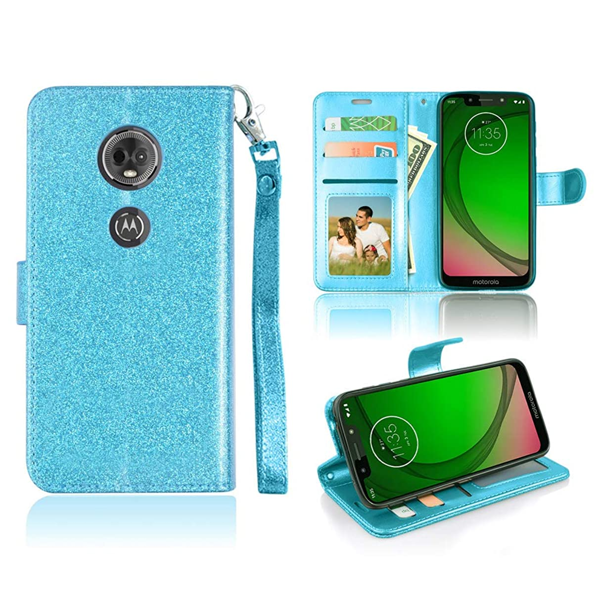 Design for Moto E5 Plus Case, Moto E5 Supra/Motorola Moto E Plus 5th Gen Case 6goodeals Sparkle Wallet Case Glitter Credit Card Slots Cash Holder Bling Flip Case [Accessory Pack] (Teal) xbkdggnrbfb6