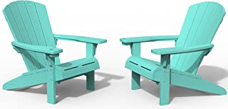 Keter Alpine Adirondack 2 Pack Resin Outdoor Furniture Patio Chairs with Cup Holder Perfect for Beach, Pool, and Fire Pit ...