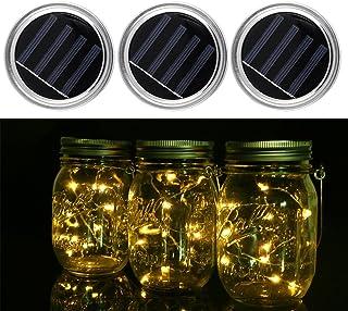 Mason Jar Lid, confezione da 3 coperchi di barattoli con luci LED con batterie solari natalizie per esterni, da giardino, ...