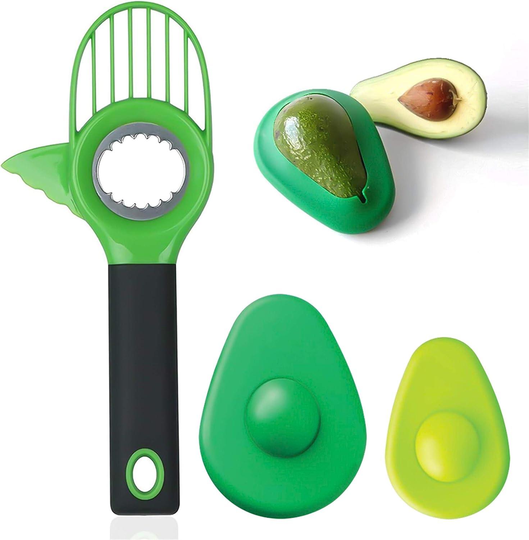 Avocado Slicer, 3 in 1 Avocado Cutter with Avocado Saver, Avocado Multi Tool Peeler Pitter and Slicer