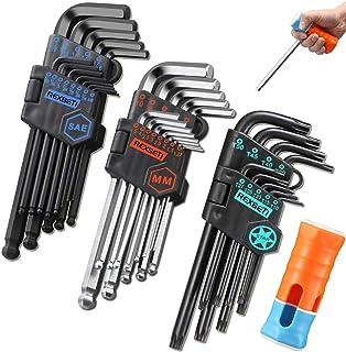 REXBETI Hex Key Allen Wrench Set, SAE Metric Star Long Arm Ball End Hex Key Set Tools, Industrial Grade Allen Wrench Set, S2 Steel