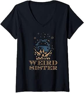 Womens Weird Sisters Macbeth Shakespeare witch Halloween women's V-Neck T-Shirt