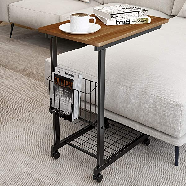 Homemaxs Side Table With Wheels Sofa Table For Small Space Living Room 27 Inch Snack Couch C Table With Wood Finish And Steel Construction