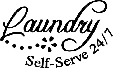 Apollo's Products Laundry Self-Serve 24/7 - Laundry Room Wall Decals - Great to Put up in Your Laundry Room! (12 X 7 Inches)