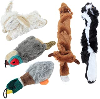 Downtown Pet Supply Dog Chew Stuffed Dog Toy Gift Big Bundle 5-Pack with Duck, Rabbit, Pheasant, Fox, Racoon Plush and Durable for Small, Medium, and Large Dogs