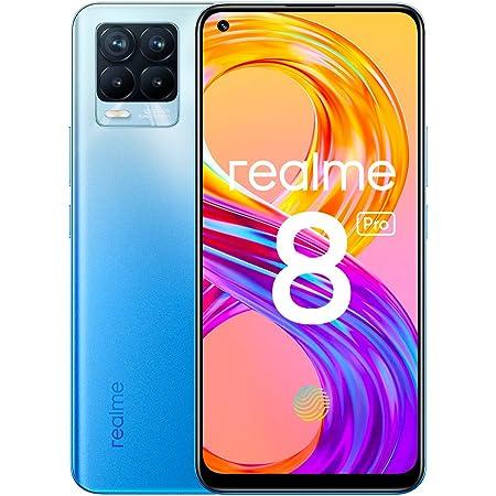 """realme 8 Pro Smartphone, Ultra Quad Camera da 108 MP, Display Super AMOLED da 16,3 cm (6,4""""), Ricarica SuperDart da 50W, Grande batteria da 4.500 mAh, Dual Sim, NFC, 8+128GB, Infinite Blue"""
