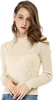 Allegra K Women's Crew Neck Pointelle Hollow Sweater Slim Fit Cropped Knitted Top