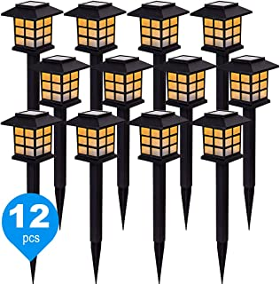 12 Pack Solar Path Lights, New LED Warm White Solar Garden Light for Outdoor with IP44 Waterproof, Solar Pathway Light for...