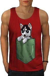Wellcoda 可愛い 子犬 外側 ポケット 男性用 S-2XL タンクトップ