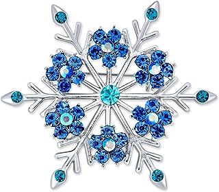 Bling Jewelry Grande Inverno Aqua Blu Teal Cristallo Holiday Il Simbolo del Fiocco di Neve Spilla Pin per Donne Placcato i...