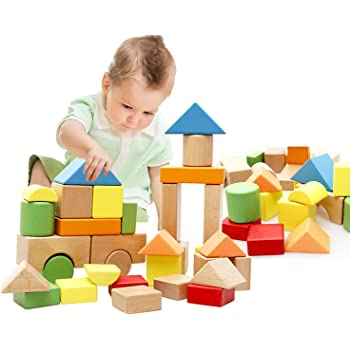 100pcs//lot Wooden Building Blocks Stacking Up Square Wood Toy Baby Learning Toys