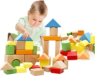 Lewo Large Wooden Blocks Construction Building Toys Set Stacking Bricks Board Games 32 Pieces