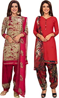 S Salwar Studio Women's Pack of 2 Synthetic Printed Unstitched Dress Material Combo-MONSOON-2851-2866