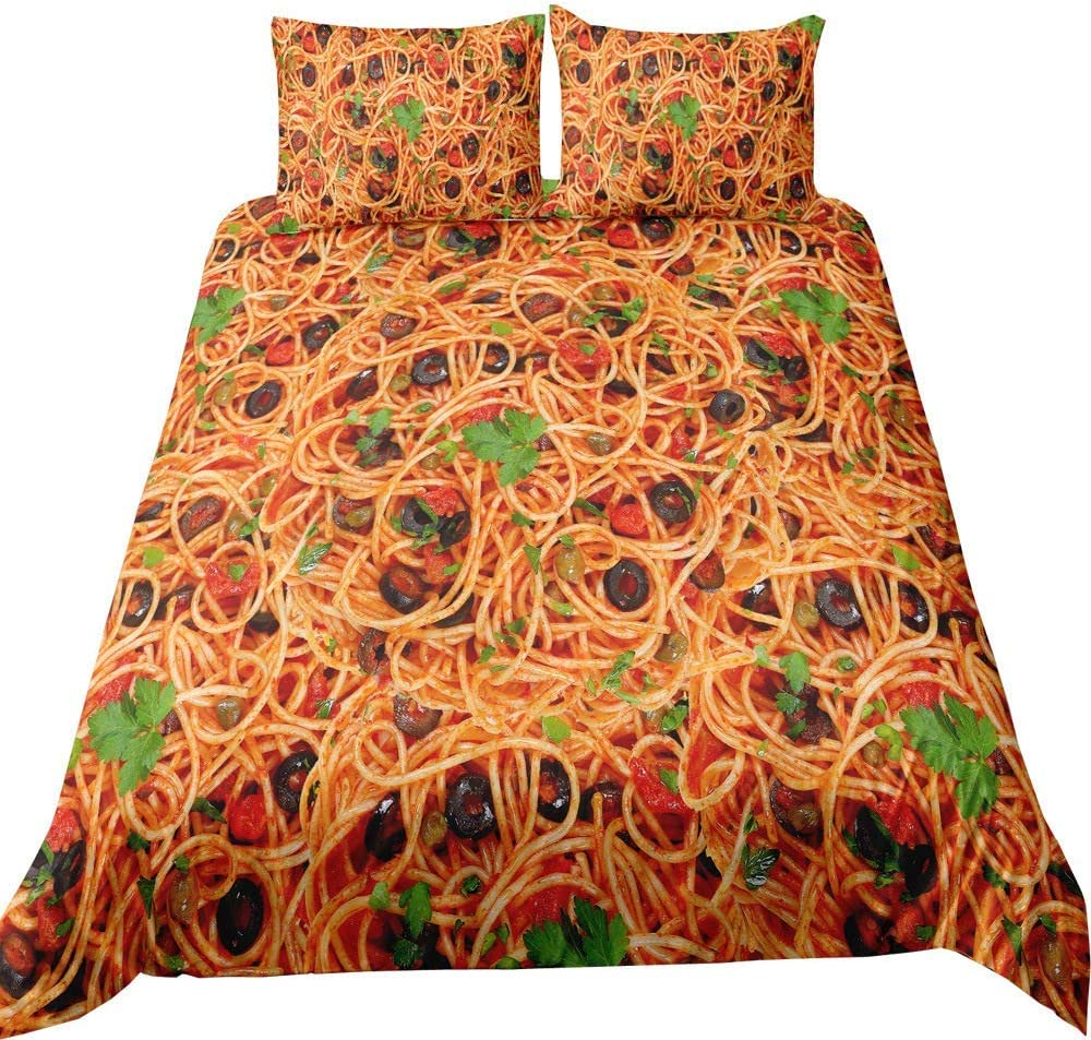 Feelyou Novelty Duvet Cover Set King ブランド激安セール会場 アウトレット☆送料無料 Spaghetti Print Bed Size 3D