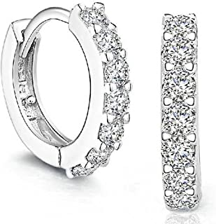 Coromose Sterling Silver Rhinestones Hoop Diamond Stud Earrings for Women