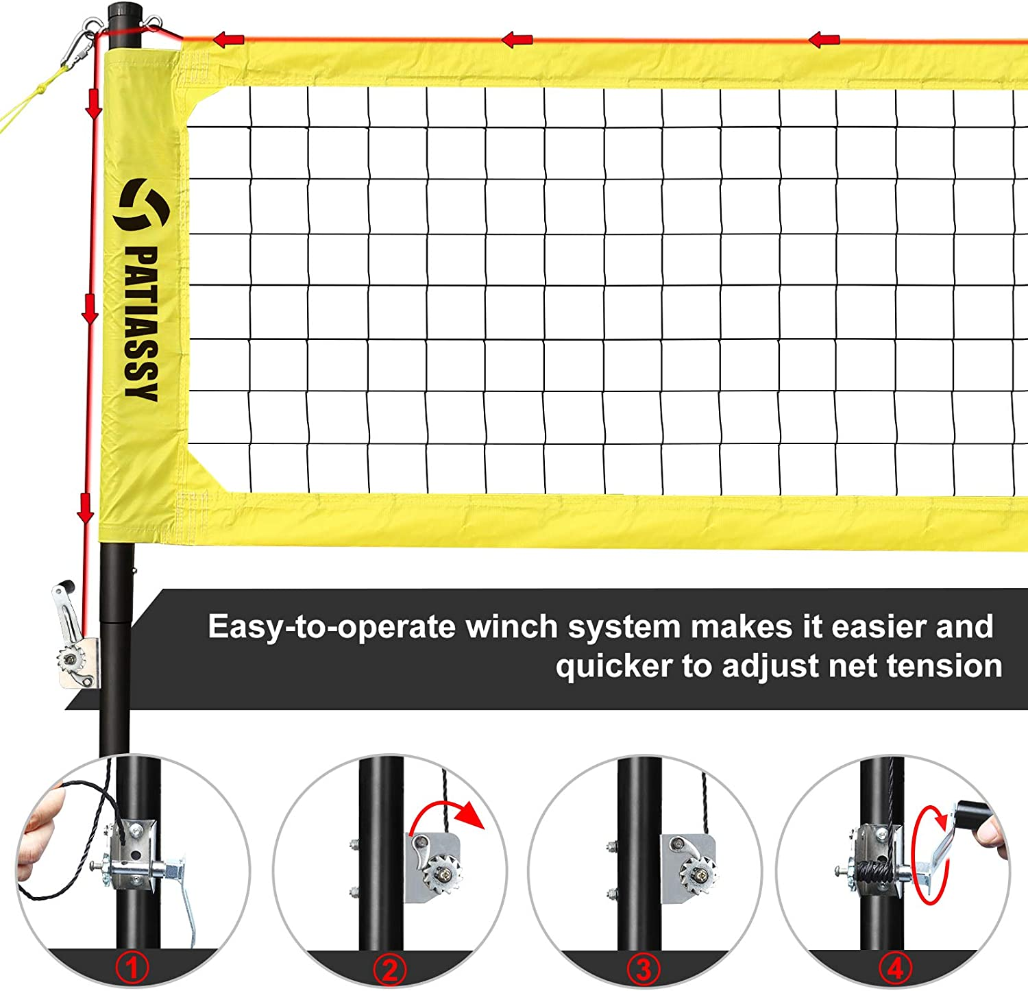 Winch System Backyard Volleyball with Pump and Carry Bag for Beach Patiassy Professional Volleyball Set Includes Portable Outdoor Volleyball Net with Adjustable Height Aluminum Poles