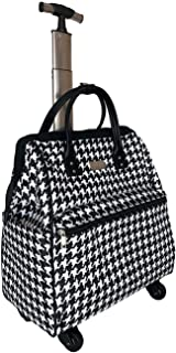 "Ritsy 20"" Computer Laptop Tote Rolling Wheel Case Luggage Carry-on Purse Bag ""Checkered White"" (Black on White Houndstooth)"