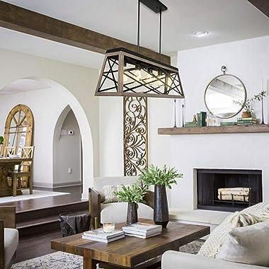 hykolity 5-Light Kitchen Island Pendant Lighting, Farmhouse Dining Room Light Fixtures, 35 inch Linear Chandelier W/ Black &a