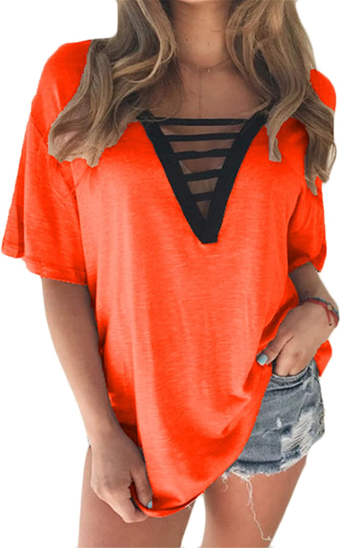 Andongnywell Women T Shirts Short Sleeve V Neck Loose Summer Tees Basic Tunic Tops Summer Multicolor Oversized Tops