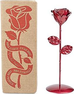 Rosa Eterna fatta di Ferro Battuto Rosso con piedistallo - Forgiata a Mano