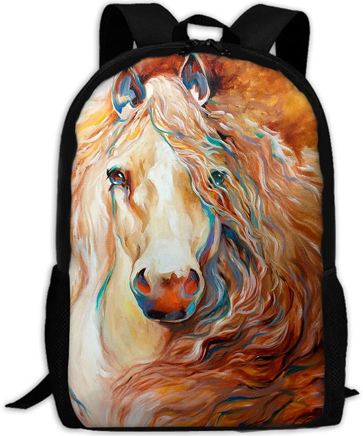 Adult Backpack Wild Horse Painting College Daypack Oxford Bag Unisex Business Travel Sports Bag with Adjustable Strap