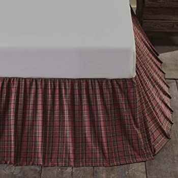VHC Bed Skirt Dust Ruffle King Queen Twin Primitive Black Plaid Easy Fit