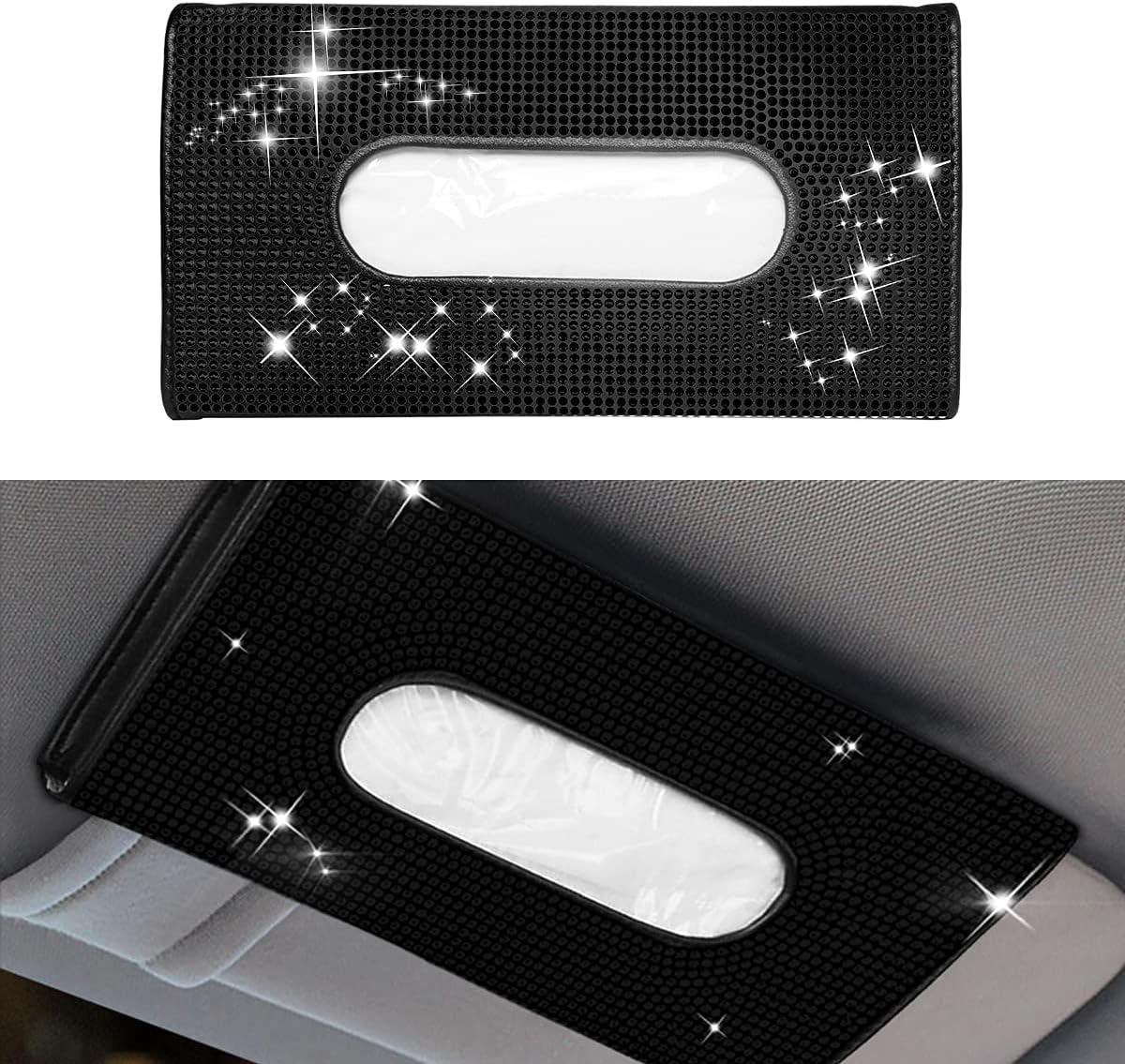 Sparkling Car Visor Tissue Holder Brand new Box Crystal unisex Leather