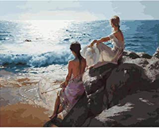 Digital Painting For Children, Adults And Beginners DIY Digital Oil Painting Hand Painted Home Decoration Living Room (Sea...
