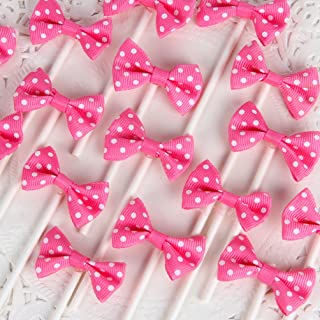 INNORU [Pack of 18 Children's Birthday Baby Shower Party Bow Dots Cupcake Toppers Cake Decoration Supplies