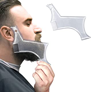 NuSense Beard Guide Shaper Comb Tool or Clear Trimming & Shaving Template - Shaping Stencil With 4 Lines Precise Grooming ...