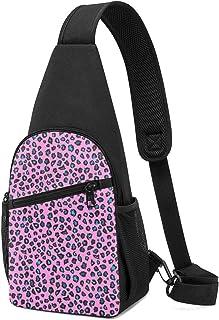 PGTry - Mochila bandolera de piel de leopardo, color rosa, ligera, para el pecho, bolsa cruzada, para viajes, senderismo, ...