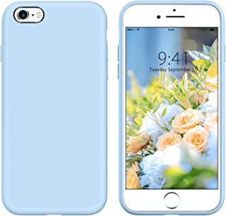 iPhone 6 Case Slim Fit YINLAI iPhone 6S Liquid Silicone Non Slip Grip Shockproof Protective Hybrid Soft Gel Rubber Bumper Hard Back Cover Durable Phone Covers for iPhone 6/ iPhone 6S Cute Light Blue