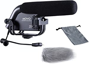 Movo VXR4000-PRO Shotgun Video Condenser Microphone for DSLR Video Cameras with Suspension Mount, 2-Step High Pass Filter and 3-Stage Audio Level Controls