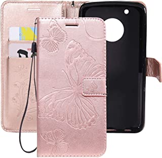 Ropigo Emboss 3D Butterfly Wallet Case for Motorola Moto G5 Plus G5+ Flip Leather Protective Case with Wrist Strap,Magnetic Closure,Credit Card Slots Holder,Kickstand Function Rose Glod