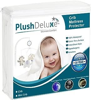 PlushDeluxe Crib Size Premium 100% Waterproof Mattress Protector Hypoallergenic, Vinyl..