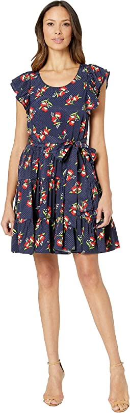 Jacquard Floral Mini Dress with Tie