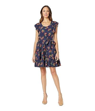 JILL JILL STUART Jacquard Floral Mini Dress with Tie (Midnight) Women