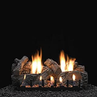 AMERICAN HEARTH 24-Inch Charleston Natural Gas Log Set with Vent-Free Intermittent Pilot Slope Glaze Burner - Thermostatic Remote