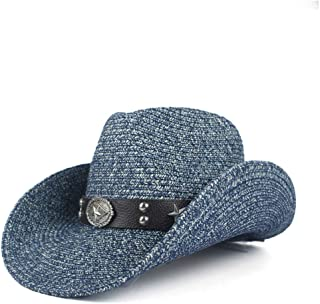 JAUROUXIYUJIN Women and Men Straw Western Cowboy Hats with Roll Up Brim Lady Gentleman Summer Beach Cowgirl Sombrero Hombre Sun Cap (Color : Blue, Size : 56-58)