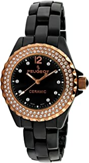 Peugeot Women Ceramic Wrist Watch with Crystal Bezel and Link Bracelet