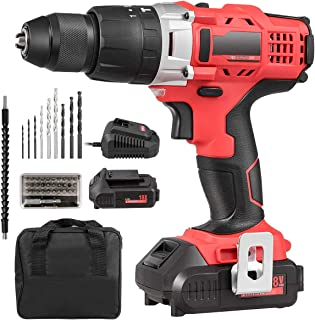 GYMAX Cordless Drill Kit, Electric Impact Drill Driver with 2 Fast Charger Batteries, 16+1+1 Torque Setting, 2 Variable Speeds, LED Light, 389 In-lbs, 1/2'' Keyless Chuck (Red & Black)