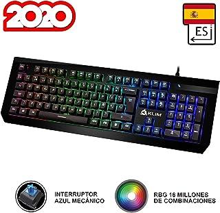 KLIM Domination Teclado Mecánico RGB ESPAÑOL - Interruptores Azules - Tecleo Rápido, Preciso y Cómodo - 5 Años de Garantía - Teclado Gaming Retroiluminado - Completa Personalización de Colores PC PS4
