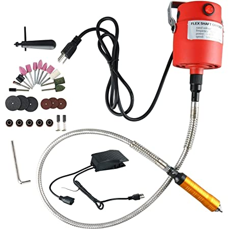 560W Seperate Motor Switch Knob Control 1//4HP Electric Flex Shaft Hanging Grinder,23000 RPM Rotary Tool 560W Power Flexible Carving Tools Kit Foot Pedal Control Metal Flexible Shaft