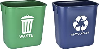 Acrimet Wastebasket for Recycling and Waste 13QT (2 Units) (Green and Blue)