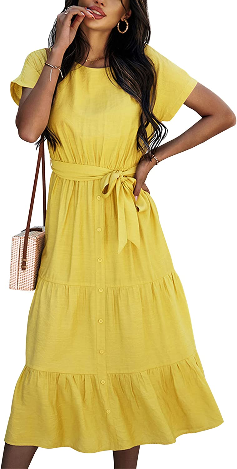 Angashion Women's Dresses Casual Short Sleeve Solid Button Down Round Neck Midi Maxi Dress with Belt