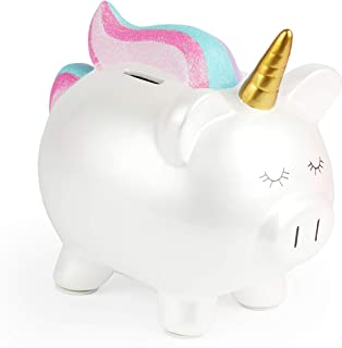 FAB Starpoint Fashion Rainbow White Unicorn Piggy Bank