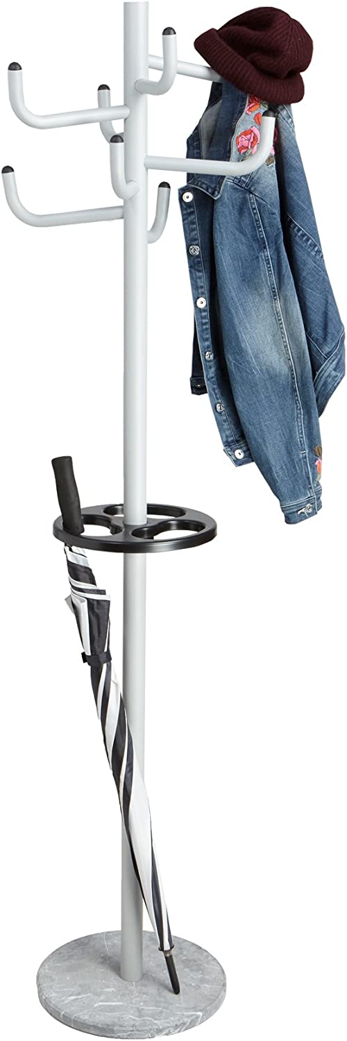 Mind Reader MEGACR-SIL Free Standing 8 Hook Metal Coat and Hat Rack with Umbrella Stand, Silver