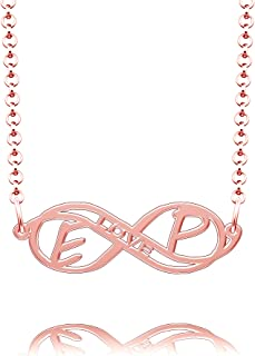 CLY Jewelry Sterling Silver Infinity Love Heart Initial Monogram Customized Any Name Necklace Gift for Couple