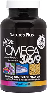 NaturesPlus Ultra Omega 3 6 9-1200 mg, 90 Softgels - Borage Oil, Fish Oil, Flax Oil Supplement, Promotes Heart Health, Moo...